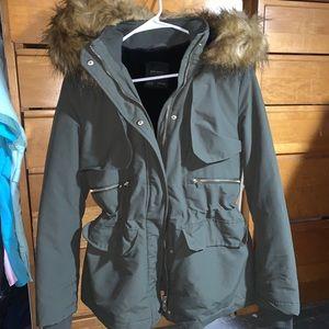 Zara Basic Outerwear Detachable Faux Fur Jacket